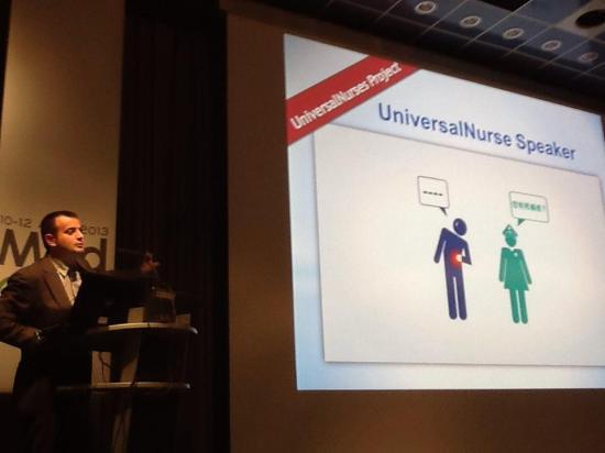 Jordi Serrano Pons presenting UniversalNurse Speaker at MedeTel