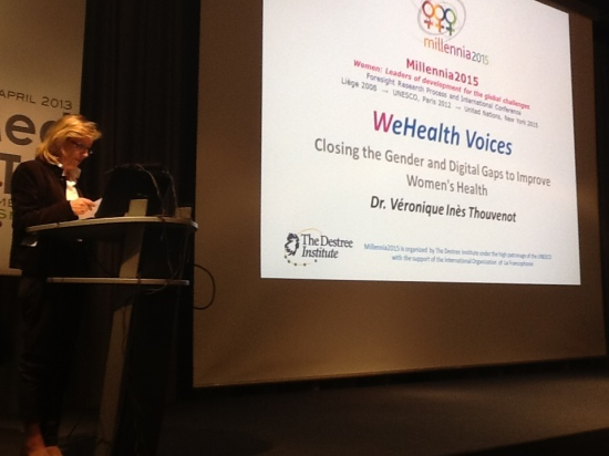 Veronique Thouvenot, Chair of Millennia2015, presenting WeHealth Voices at MedeTel