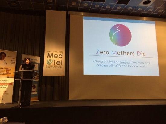 Jeannine Lemaire presenting Zero Mothers Die, an mHealth project to reduce maternal mortality in sub-Saharan Africa